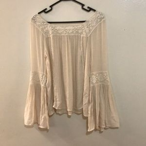 Altar'd State Boho Cream Laced Bell Sleeve Blouse